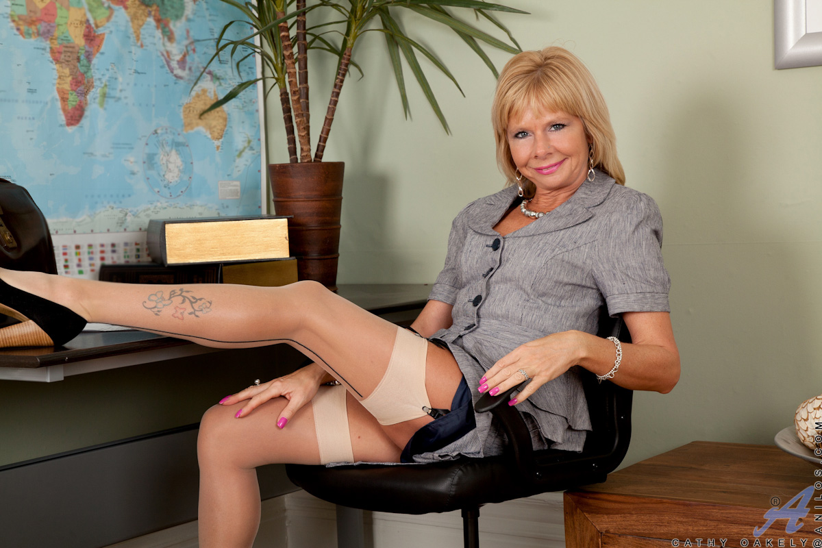 Mature women stockings office