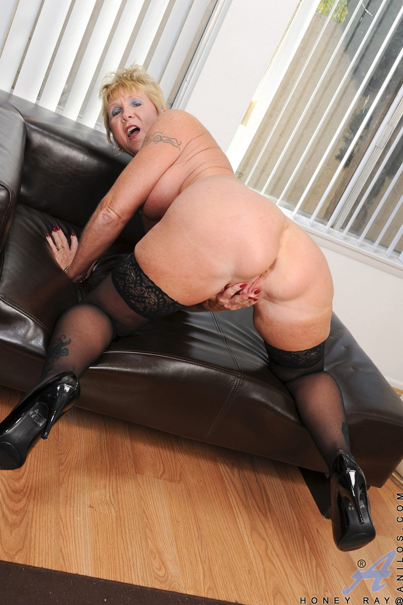 Blonde granny in stockings