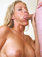 Enticing cougar anilos gets pounded hard and receives a mouthful of hot spunk from Anilos.com