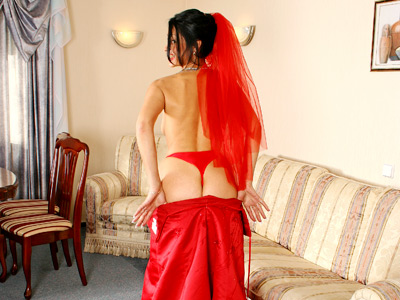 Naughty milf nymphette nelly peels off her red wedding gown waistband rubs her swollen clit