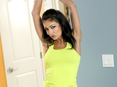 Persia gets horny while exercising and takes it out on her pussy
