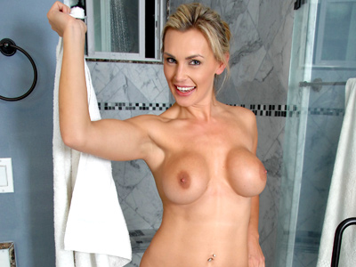 Stunning blonde cougar Tanya submit masturbates in the shower