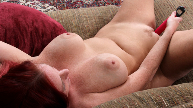 Voluptuous red haired milf with enormous luscious melons is mad to show just how easy it's to make her juicy vagina cum with the right toysvideo
