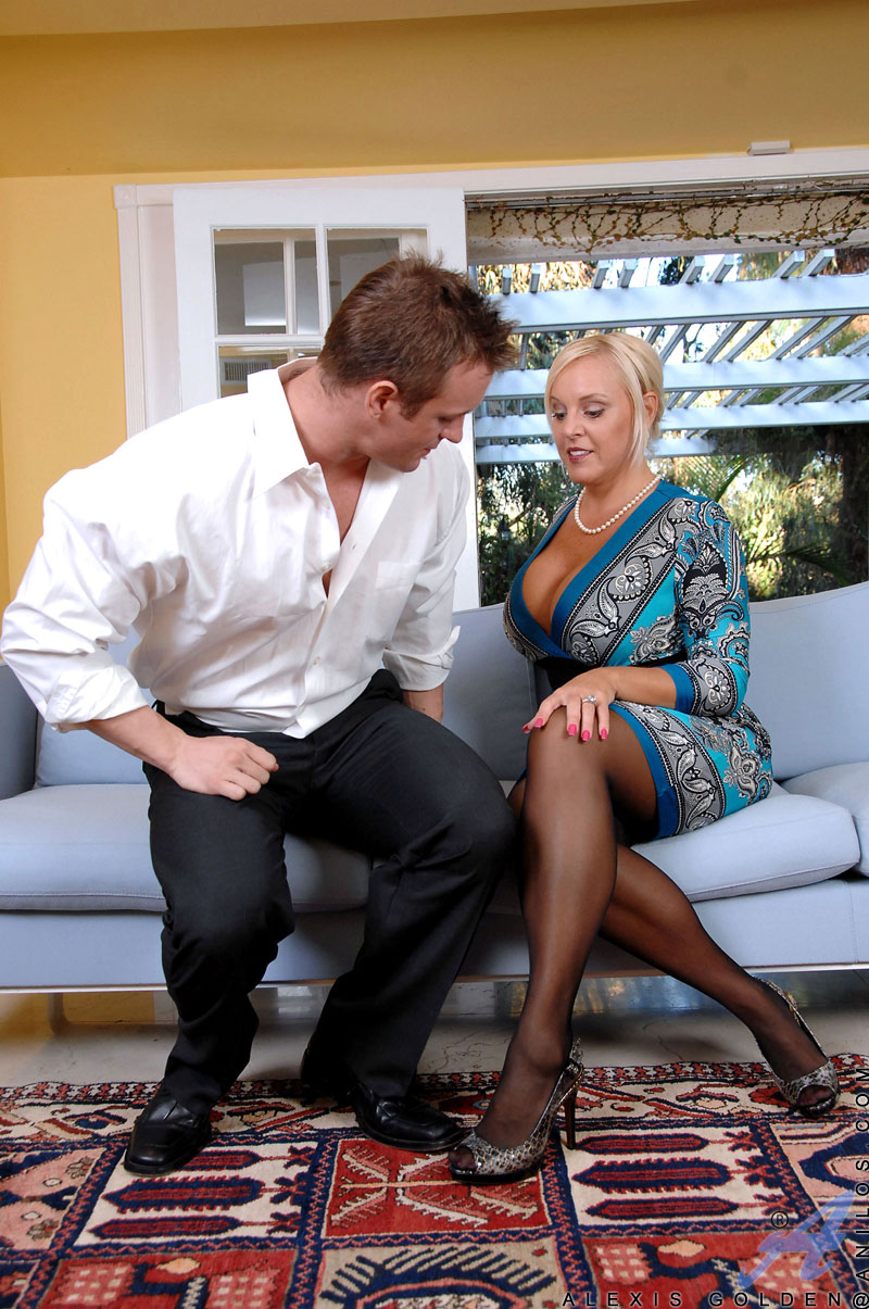 Busty mature Alexis Golden sucks and deepthroats a stiff cock and gets fucked hard