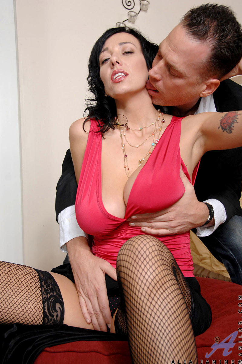 Hardcore milf Alia Janine titty fucks a hard cock and gets screwed in different positions