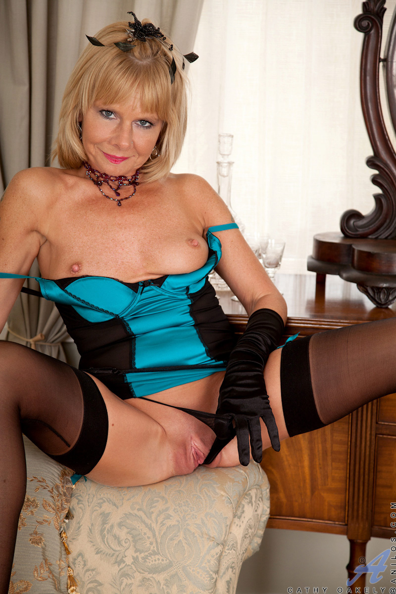blonde granny stockings