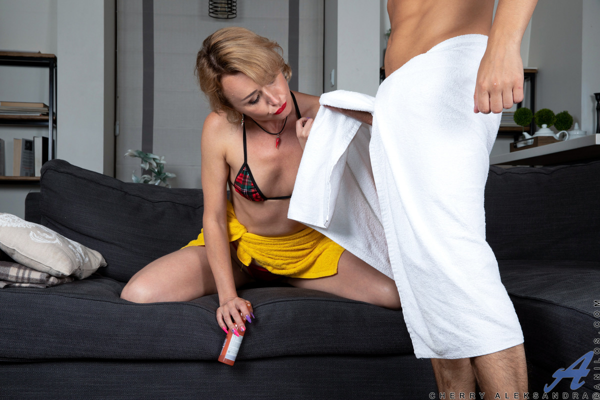 Now that she's divorced, Cherry Aleksandra can have a good time with all kinds of men and ladies alike. Watch as she loses herself in the joy of sucking a big dick and then feeling it move inside her as she gets her cum hungry cunt pounded in a variety of