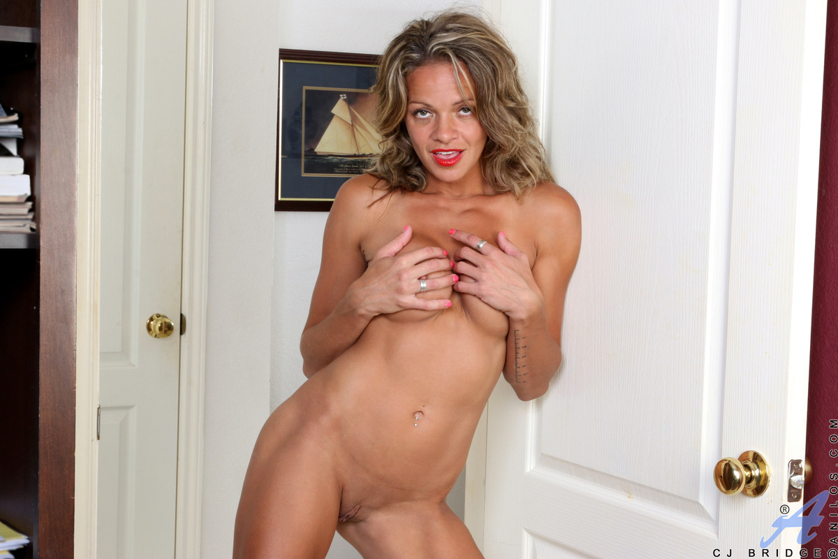 Windblown and lovely, CJ Bridge is tanned to perfection. This hot mom is always ready to lift her short skirts and peel off her top. Her round boobs are firm and tender as she caresses them, and her slippery snatch is wet and ready to accommodate her fing