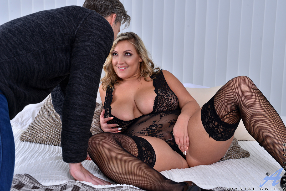 Cock craving mom Crystal Swift is decked out in lingerie that highlights her huge tits as she sucks her lover's hard cock. Peeling off her sheer teddy, she plays with her boobs as she enjoys a hardcore pussy pounding that doesn't end until her man covers