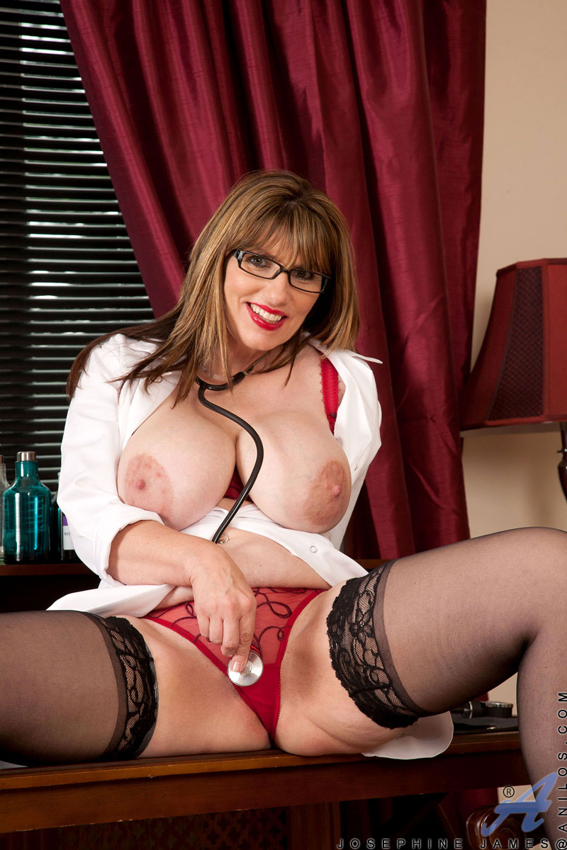 Sweet and busty Anilos nurse frenzy fucks her pussy with a vibrator