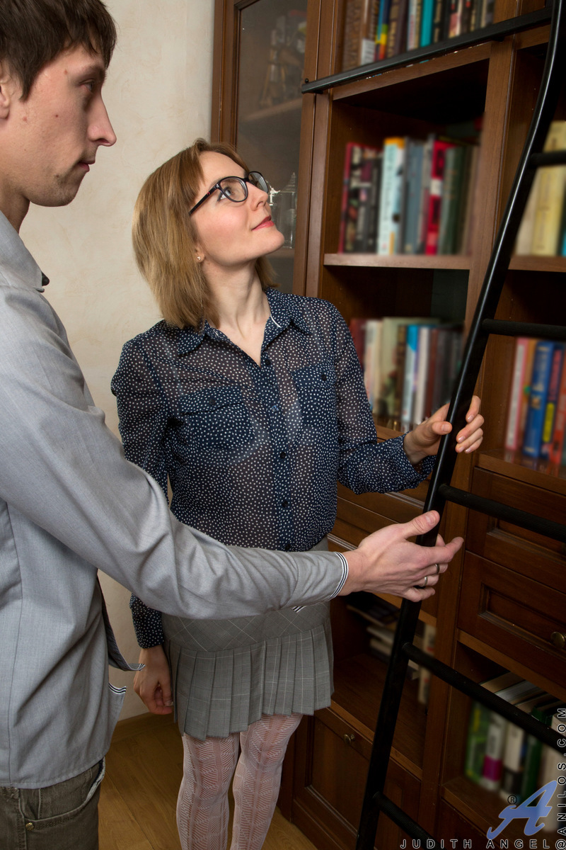 Cum hungry milf Judith Angel seduces her younger man in the library with a peek up her miniskirt. It's not long before the European mom finds herself bent over a ladder getting her pussy pounded. Then she has a lusty stiffie ride and takes a cock in her a