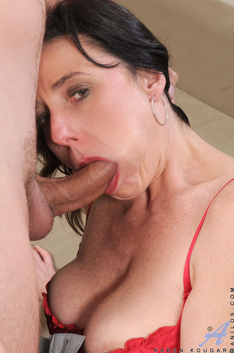 Sex starved Karen Kougar gives a smooth blowjob before she gets screwed by a stud on the sofa