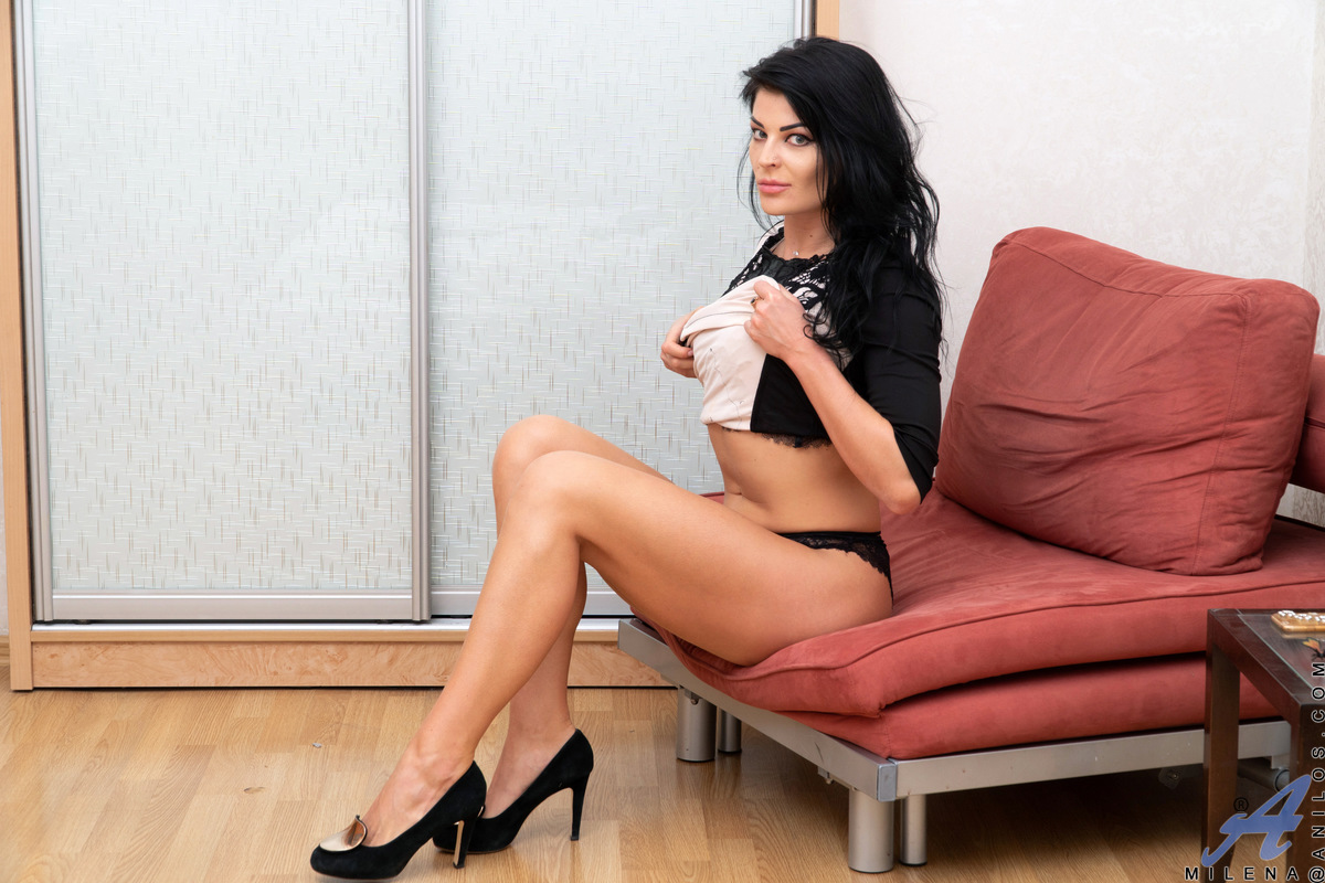 Euro mom Milena just needs to masturbate any time she's home alone. First she has to get rid of her dress and lacy lingerie bra and panties. Once she's nude, the slim mama can take all the time she needs exploring her tan lined titties and fingering her c