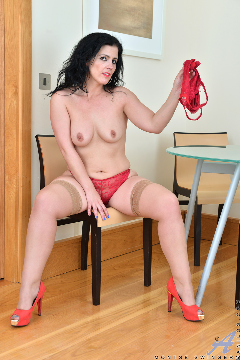 Seductive Spanish rose Montse Swinger is a 37 year old milf whose biggest pleasure in life is getting herself off. Peeling off her short dress, bra, and panties, the lusty mom settles in for a hanging boob massage and a bald pussy fingering that leaves he